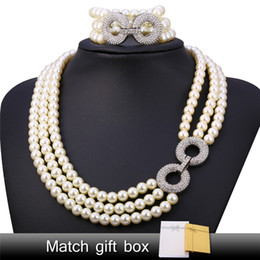 Wholesale Pearl Necklace Multi - U7 Pearl Jewelry Set For Women 2016 Trendy Platinum Plated Party Rhinestone White Pearl Multi Layers Necklace Bracelet Set Perfect Gift