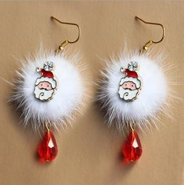 Wholesale Plume Earring - Fashion Santa Claus Reindeer white plume red crystal earrings jewelry with Christmas ball Cute Popular Charms Girl Accessories Gift Ornament