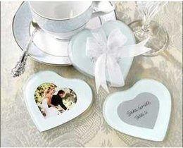 Wholesale Glass Wedding Giveaways - DHL wedding favor gift and giveaways for guest -- European style Heart Shape Glass Photo Coaster party favor keepsake 1203#03