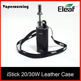 Wholesale Ego Lanyard Bag - Original Eleaf istick leather case carry vape bag with ego lanyard ring for istick 20w 30w battery mod kits DHL Free Shipping
