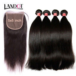 Wholesale Brown Weaves - Grade 9A Brazilian Peruvian Malaysian Indian Virgin Human Hair Weaves 3 Bundles With Lace Closures 5x5inch Straight Cambodian Mink Remy Hair