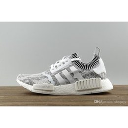 Wholesale Camo Golf Shoes - NMD R1 PK Glitch Camo Grey Primeknit PK BY1911 Real Boost Men Women Athletic Running sneaker Running Shoes Perfect Sport Shoes size36-45