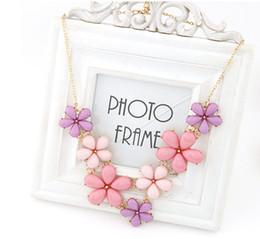 Wholesale Pink Flower Choker - Wholesale-2015 Big Flower Choker Necklace Pink Blue Colorful Glod Chain Plant Resin Statement Necklaces&Pendant For Women Fashion