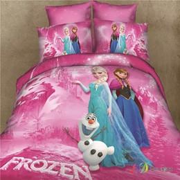 Wholesale Comforter Sets Full Girls - Wholesale-Girls pink Frozen bedding set cotton twin full queen king princess Alsa Anna bedclothes comforter sets 4 5Pcs duvet cover sheet