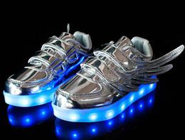 Wholesale Stylish Kids Shoes - Kids LED Wing Sneakers shoes Boys Girls Stylish 7PCS LED Light Luminous Children Sports Athletic Shoes New Style