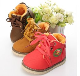 Wholesale Warm Boots For Girls - Hot Winter Children's Boots Warm Snow Boots For Boys and Girls plush stitching cotton Kids Shoes Size 21-30