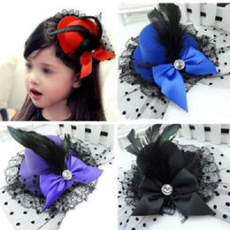 Wholesale Wholesale Feather Hat Bands - Wholesale- 1 pcs Lady Mini Feather Rose Top Hats Cap Lace Fascinator Hair Clip Costume Hair Band Accessories