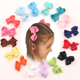 Wholesale Fun Bow - New 50ps Baby Girls Headbands Boutique Infant Bow Fun Solid Hair Clip Children Popular Hair Accessories Fabric Flower Barrettes JH-H09