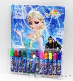 Wholesale Gifts Princess Pen Kids - 2014 2014 New frozen stationery set elsa anna princess cartoon Coloring book+Water Color Pen Fancy Drawing set kids gifts children gift