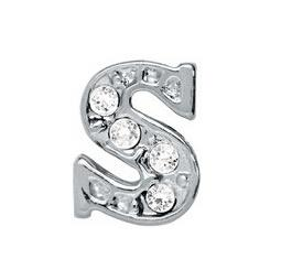 "Wholesale Alphabet Letters Charms - 20pcs lot DIY Alloy Charm Crystal Alphabet Letter "" S "" Fit For Glass Magnetic Memory Floating Locket"