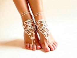 zapatos de la boda del victorian Rebajas Sandalias descalzas de crochet de playa, zapatos desnudos, joyas de pie, encaje victoriano, zapatos de yoga, tobilleras de novia, accesorios de playa