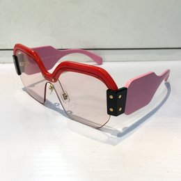 Wholesale Black Mirror Pc - SMU 09S Sunglasses Luxury Women Brand Designer Popular Fashion Square Big Half Frame Sunglasses Fashion Women Style Come With Pink Case