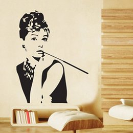 Wholesale Reusable Wall Stickers - 2016 new AUDREY HEPBURN Silhouette Wall Vinyl Stickers Art Decal Reusable & Removable Decal Black free shipping