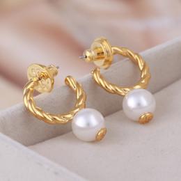 Marchio bianco perla perline in cerchio 1.0cm orecchino oro 18 carati placcato gioielli di alta qualità donne spedizione gratuita PS6626 da