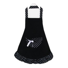 Wholesale Black Chefs Apron - Green Red Black Pink Cotton Working Chefs Kitchen Cooking Cook Women's Bib Apron Bowknots Pockets