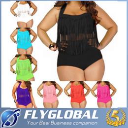 Wholesale Sexy Bathing Suit Criss Cross - Plus Size Swimwear For Women Fringe Tassels Bikini High Waist Swimsuit Sexy Women Bathing Suit Padded Boho Swimsuit Monokini