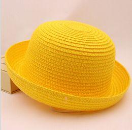 Garotos trilby on-line-2015 verão meninas e meninos chapéu de palha criança caps Unisex Vintage Praia Verão Trilby Packable Crushable Straw chapéu de Sol das crianças 6 cores