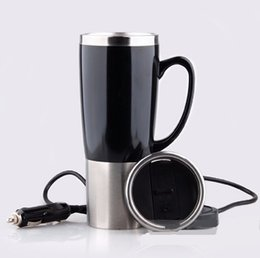 Wholesale Electric Heated Mug - Wholesale-450ml Dual Layer Car Electric Cup Stainless Steel Auto electric cup boiling water heated car mug With charger to 100 degree