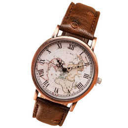 Wholesale Music Maps - Vintage watch men personality Casual Leather wristwatch Piano Music world map Rome Digital alloy Dial quartz Watch women relogio