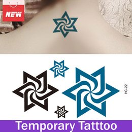 Wholesale Spiral Belly - 1 Sheet Six-Point Star Spiral Pattern Waterproof Stickers Temporary Tattoo Kit Body Art Tatuagem Temporaria