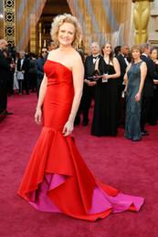 Wholesale Oscar Crystal Dresses - 2016 88th Oscar Meg LeFauve Elegant Celebrity Dresses Strapless Red Fashion Pageant Gowns Backless Sweep Train