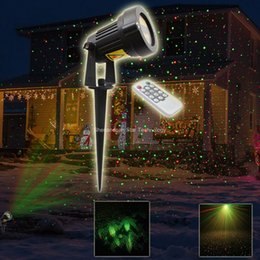 Wholesale Laser Light Projector Remote - Wholesale- Remote Outdoor R&G Static Full Stars Laser Patterns Projector Landscape Dance Disco Bar Xmas Garden Holiday Tree DJ Light R30