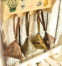 Wholesale Purse Buckles - Wholesale-New 2015 Women Cute Triangle Canvas Wallet Change Purse Coin Key Mini Buckle Pouch