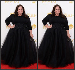 Wholesale Melissa Sky - 2015 Red Carpet Evening Dresses Emmy Awards Melissa McCarthy Plus Size Celebrity Dress With Lace Appliques Beads 3 4 Sleeve Prom Party Gowns