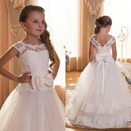 Wholesale Little Girls Backless Dress - First Communion Dresses For Girls Scoop Backless With Appliques and BowTulle Ball Gown Pageant Dresses For Little Girls