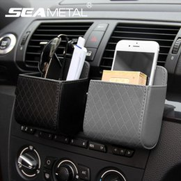 Wholesale Outlet Leather Bags - Car Storage Box Air Outlet Leather Organizer Bag Universal For Car Mobile Cell Phone Holder Hanging In Auto Interior Accessories