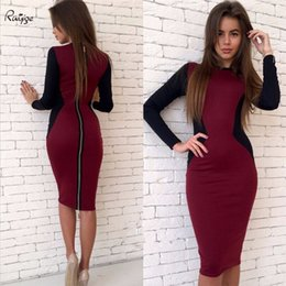 formal work women dresses Promo Codes - Wholesale- Ruiyige Office Women Vintage Summer Plus Size Zipper Back Formal Stretch Pencil Work Bodycon Dress Fitted Femme Patchwork Robe