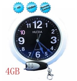 Wholesale Wall Clock Dvr Cameras - 4GB Built-in Remote Control Clock Hidden Camera DVR Video Recorder, Covert Hidden Wall Clock Camera With 72 Degrees Visual Angle