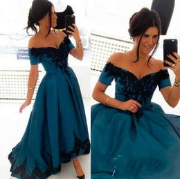 Wholesale exposed zipper top - Top Arabic Prom Dresses A line Party Dress Long Train Sexy Backless Off the Shoulder Black Applique Sexy Evening Dresses