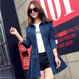 Wholesale Denim Shirt Rivets - 2016 spring new Korean long sleeved rivets stretch denim dress shirt waist coat female one generation