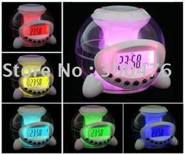 Wholesale Natural Light Calendar - Free Shipping New Lovely Magic Colorful 7 Color Changeable Digital LED Natural Sound Wake Up Light Calendar Alarm Clock
