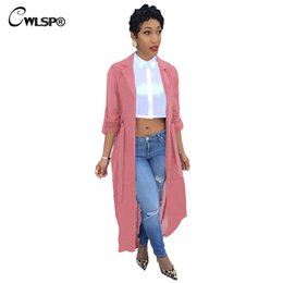 Wholesale Women Duster Coat - Wholesale- CWLSP Red Trench Coat Womens Spring Summer Chiffon Trench Cardigan 2017 Female Notch Neck Casual Coat long duster coat QZ1793
