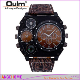 Wholesale Watch Stainless Steel Compass - Oulm 1349 updated version All Black Dial Dual Quartz Movements Wrist Watch with Compass & Thermometer decoration men Luxury watch