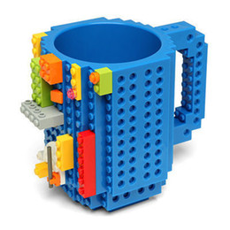 Wholesale Puzzle Blue - Wholesale-1Piece Build-On Brick creative Mug Drinkware Mugs Lego Type Building Blocks Coffee Cup DIY Block Puzzle Mug 12oz