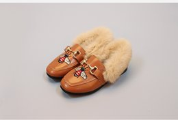 Wholesale Middle Child - Warm Fluffy Leather 2017 Wear-resisting Soles Durable Middle & Big Children Shoes Fall Winter Girl TOD'S Princess Shoes Free Shipping