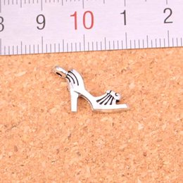 Wholesale Heel Jewelry - 133pcs Antique Silver Plated high-heeled shoes Charms Pendants for European Bracelet Jewelry Making DIY Handmade 20*11mm