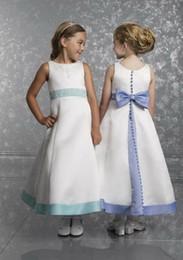 Wholesale Simple New Dress For Girls - 2018 High quality New Charming Teffeta A Line Bow Flower Girl Dresses For Weddings Tea Length Simple Crew Neckline Sleeveless Vest