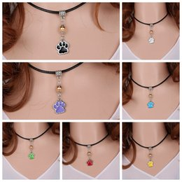 Wholesale Dog Collar Leather Paw - Vintage Silver Enamel Dog Paw Prints Charms Choker Genuine Leather Collar Necklace&Pendants For Women Fashion Jewelry 8PCS S363