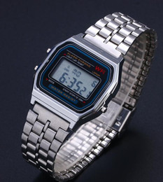 Wholesale Men Slim Watches - 2018 hot Digital stainless steel watches Led men Sports Watch luminous top F91W slim electronic WristWatch