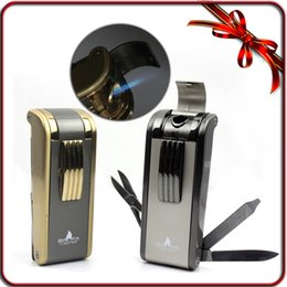 Wholesale Butane Fashion Lighter - Free shipping New Fashion Heavy Duty Jet Flame Butane Gas Cigar Cigarette Lighter WIth Tools
