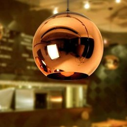 Wholesale Copper Mirror Ball Light - Modern Tom Dixon Copper Mirror Glass Ball Pendant Light Globe Shade ceiling Lamp Living Room kitchen bar counter Light Fixture