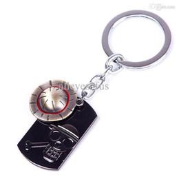 Wholesale One Piece Key Ring - Wholesale-Japanese Anime Key Chain One Piece Luffy Straw Hat Skull Double Pendants Keychain Key Ring#65944