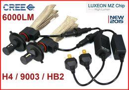 Wholesale Cree Led H4 Headlight Bulbs - 1 Set H4 9003 HB2 40W 6000LM CREE LED Headlight LUXEON MZ CHIP High Low Beam Xenon White 6500K 12 24V Copper Belt H13 9004   9007 LED Kit