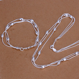 Wholesale Copper Line - High grade 925 sterling silver Three line light bead bracelet necklace jewelry set DFMSS140 brand new Factory direct 925 silver