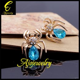 Wholesale Sending Earring Boxes - FG Party jewelry spider crystal earrings 18K rose gold plated (send gift box)