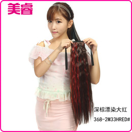 Wholesale Ponytails Red Long - Factory wholesale 368-2M33HRED # dyeing dark brown long hair ponytail red ponytail color temperature wire volume horsetail Hot
